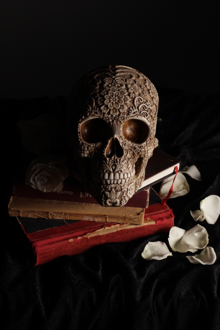 idée fond d écran horreur pour portable, photo pour verrouillage d'écran IPhone avec figure crâne et livres anciens