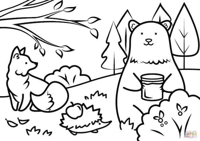 Ourson et renard dans la foret dessin à colorer, automne dessin, coloriage feuille, peindre son dessin