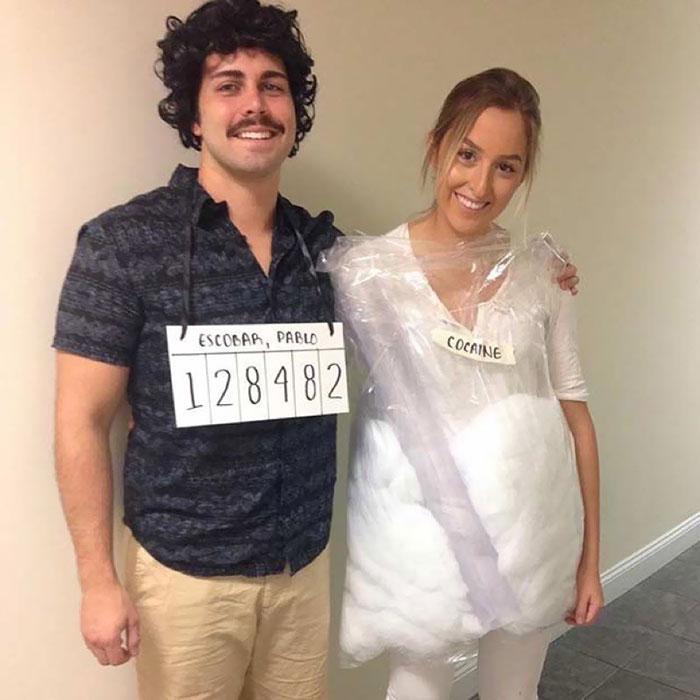 Couple déguisement halloween fait maison, Escobar et son amour idée de déguisement drôle