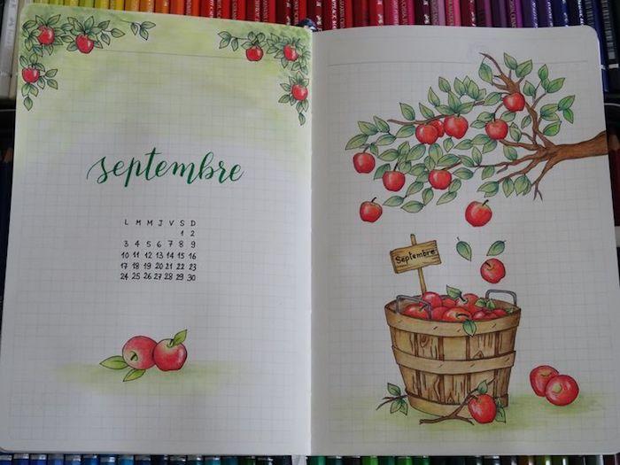 Dessiner septembre avec les pommes rouges, page de journal, dessin feuille d'arbre, automne dessin nostalgie