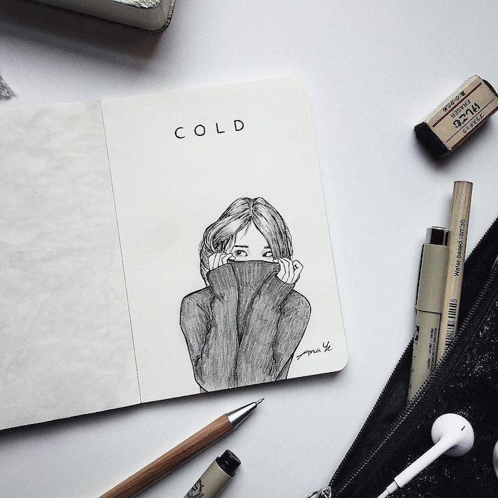 Fille dans pull col roulé dessin, idée comment faire un dessin du froid, page de journal
