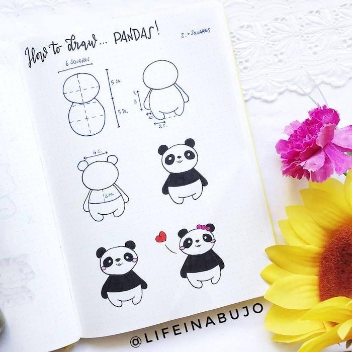 dessiner un panda etape par etape, dessin corps panda a partir de deux cercles, idee dessin bullet journal facile