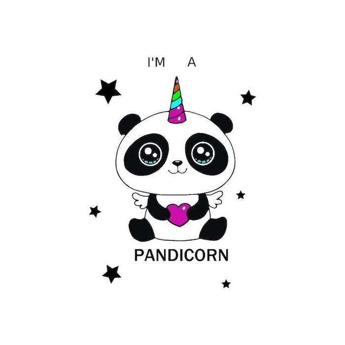 dessin de panda licorne avec corne coloré, de gros yeux et un coeur mauve entre les mains avec des etoiles noires autour