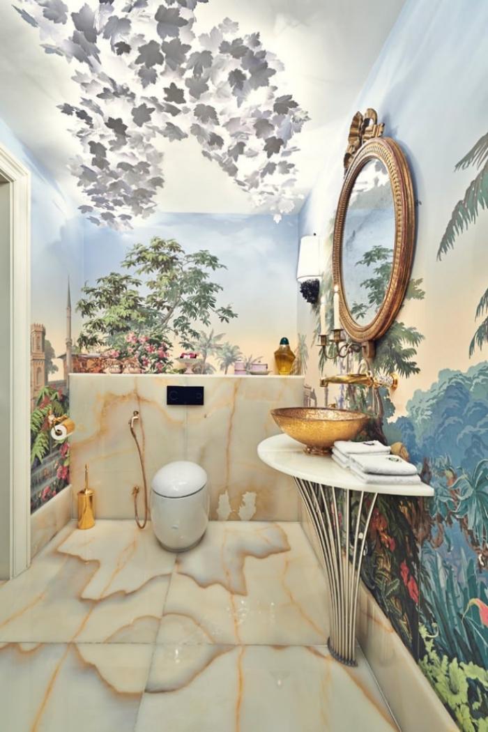 comment décorer ses toilettes de façon originale, modèle de revêtement mural toilette avec papier peint trompe l'oeil