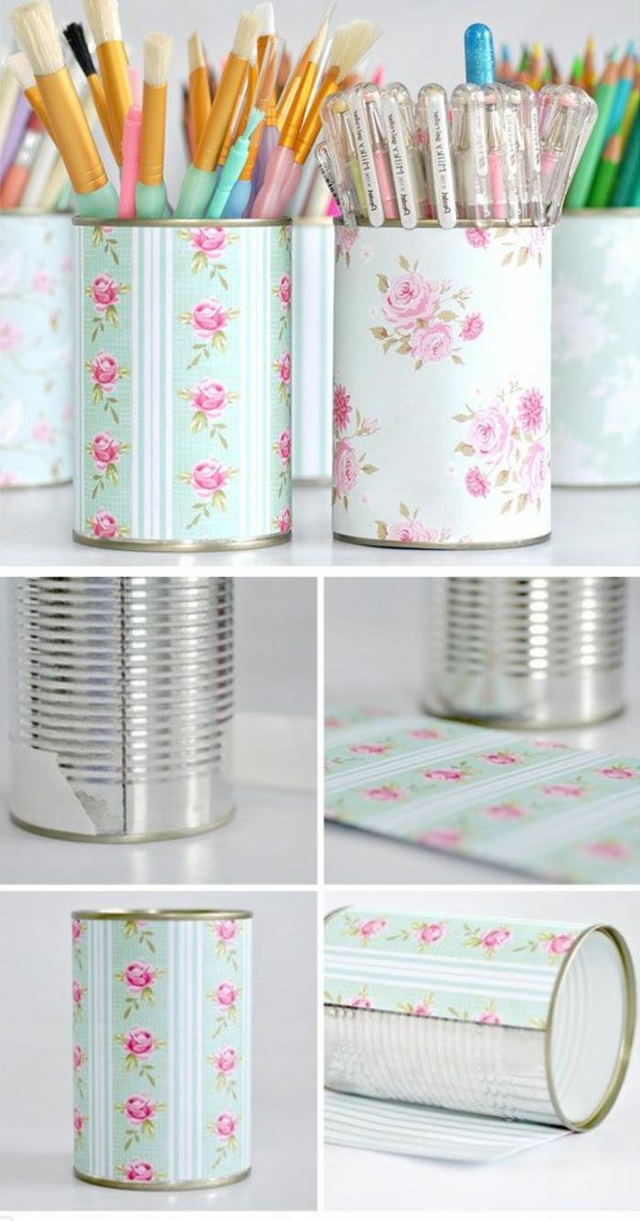activité manuelle ado, diy organiseur bureau d'étudiant, bricolage facile et rapide, idée recyclage boîte conserve