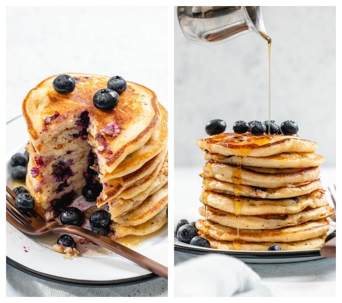 recette de pancake américain avec des bleuets à l intérieur et sirop d erable en top