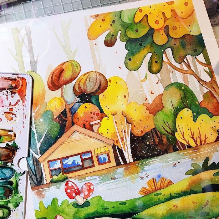 Inspiration dessin arbre d'automne, comment dessiner un arbre paysage avec maison adorable au bord d'un lac