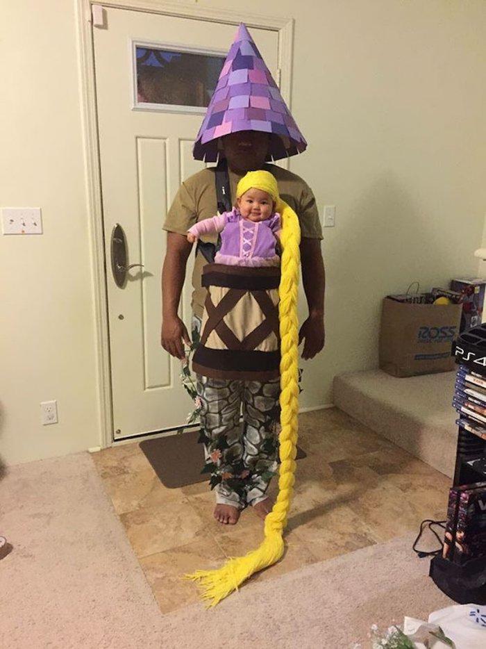 Père déguisé comme la tour de Raiponce déguisement garçon, déguisement halloween pour bébé