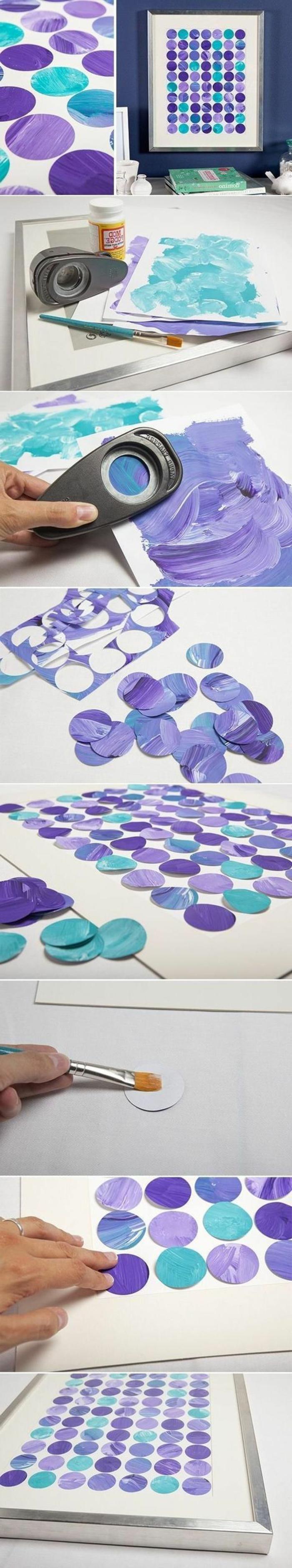 activité manuelle facile et rapide, faire un art mural avec papier et peintures aquarelles, diy cadre photo avec peinture enfant
