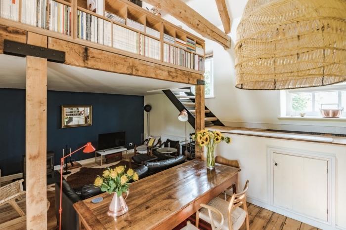 transformation grange en habitation, décoration mezzanine dans une grange avec salon aménagé meubles cuir noir