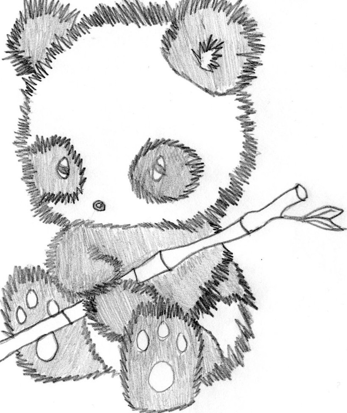 dessin de panda noir et blanc, ourson panda avec bambou dans les mains, apprendre a dessiner par dessins simples