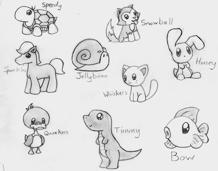 idees dessin kawaii animaux, tortue, chat, licorne, lapin, chien, canard, comment apprendre a dessiner