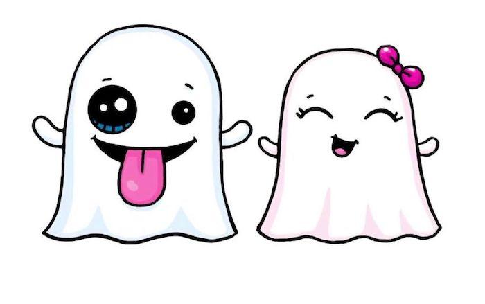 dessiner un fantome soi meme, dessin fantome femme et spectre homme, idee dessin halloween style kawaii