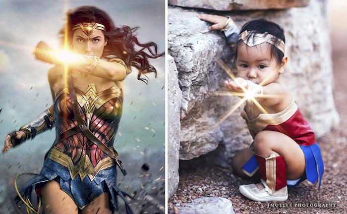 Wonder Woman deguisement bebe halloween, originale idée deguisement enfant, fille adorable transformation