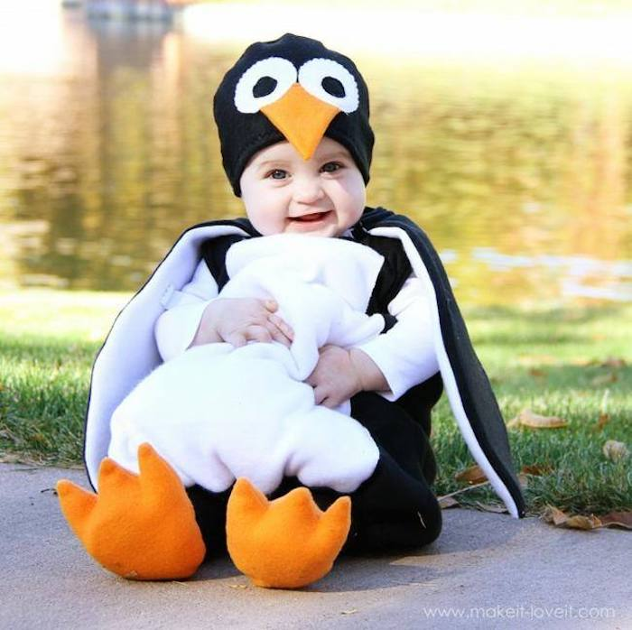 Manchot deguisement bebe fille, déguisement halloween pour bébé, idée adorable pour un bébé