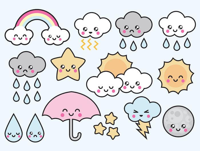 temps kawaii, dessiner des nuages, soleil, goutes de pluie, etoiles, apprendre a dessiner facilement