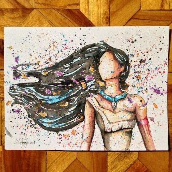 Pocahontas dessin aquarelle, dessin automne, coloriage automne, image automnale