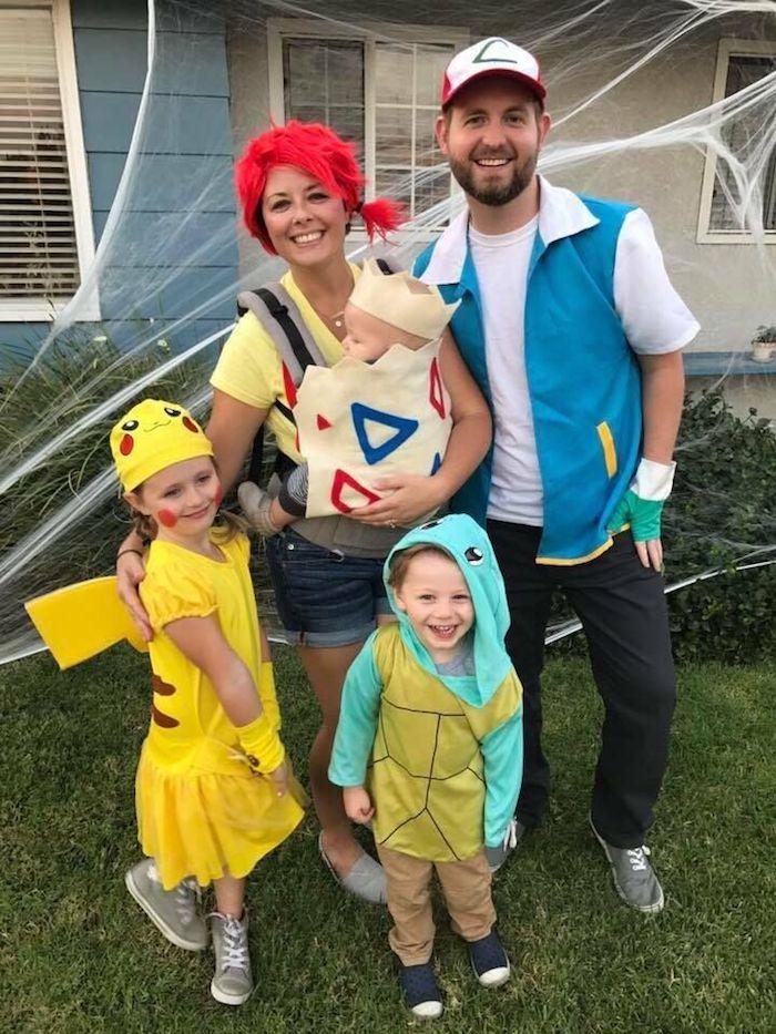 Piccachu année 90 mode, déguisement cinéma soirée thématique, pokémon tenue famille