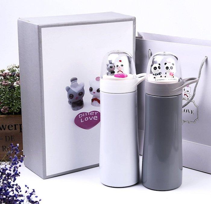Gobelet avec mignons figurines des animaux, idée cadeau commun pour parents, cadeau personnalisé couple