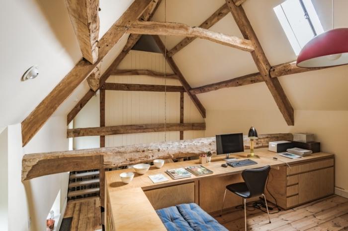 exemple de comble aménageable transformé en bureau à domicile de style rustique, comment décorer un espace de travail