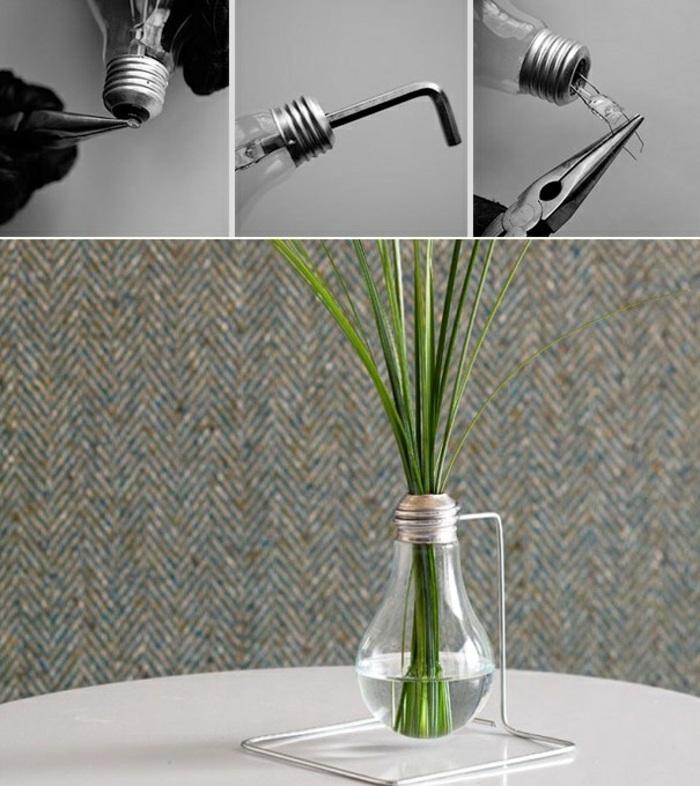 activité créative, exemple comment fabriquer un vase originale, modèle de vase DIY fabriqué avec ampoule verre