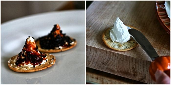bouchées apéritives faciles pour le buffet d'halloween, chapeaux de sorcières au fromage et crackers salés