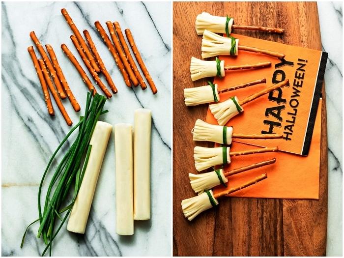 idée amuse bouche halloween de dernière minute, balais de sorcière au fromage et bretzel