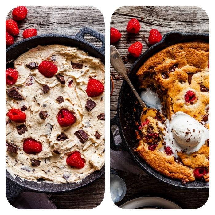 recette cookie géant aux copeaux de chocolat et framboises dans une casserole, recette cookie mie caline gateau