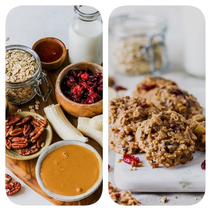 recette avec flacon d avoine, cookies avoine, canneberges, pecans, beurre de noix, bananes, miel et lait
