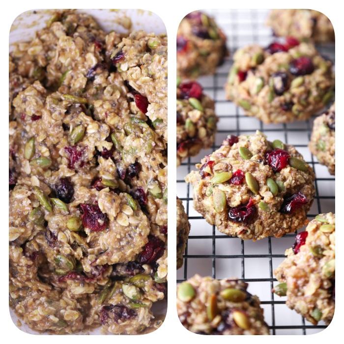 recette cookie mie caline, cookies flacon d avoine, graines de chia et de lin, canneberges séchées et flacons de coco
