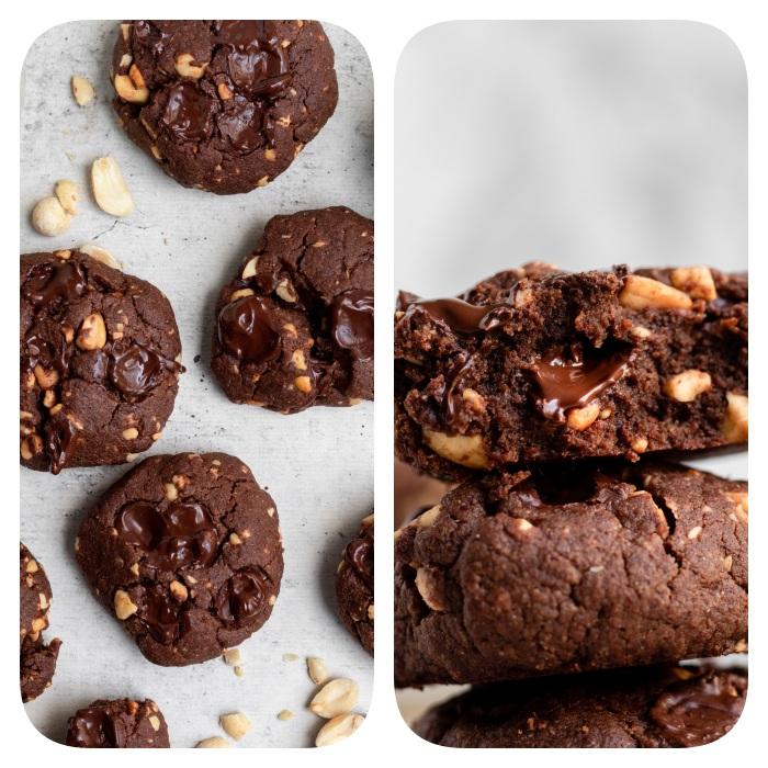 recette de cookies au chocolat avec pépites de chocolat cacahuètes, biscuits sans gluten faciles a faire