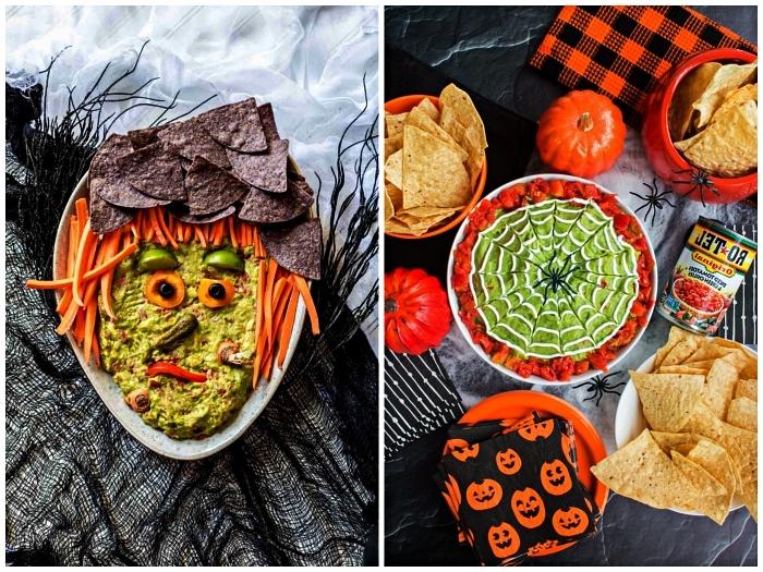 deux façons originales de présenter les sauces apéritives mexicaines sur le buffet halloween, sauces mexicaine façon sorcière ou toile d'araignée
