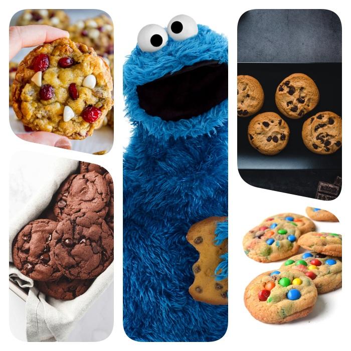 exemples recette cookies moelleux a faire a la maison, variations cookies pepites de chocolat noir, au lait, blanc, bonbons mms, macaron le glouton