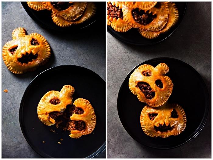 recette halloween horrible et originale, mini tourtes en forme de citrouilles au fromage et au chorizo