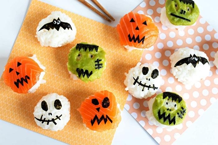 recette de tamari sushi d'halloween façon différents personnages d'halloween, recette de sushi maison