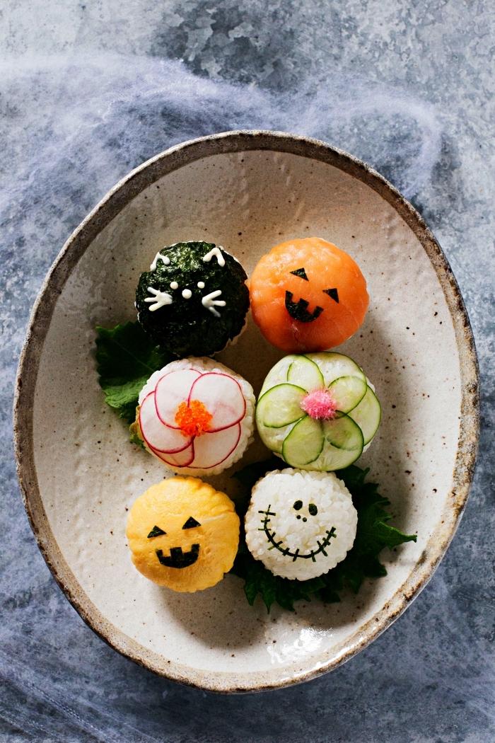 recette de tamari sushi d'halloween au radis, concombre ou saumon, recette halloween salé pour l'apéro thématique