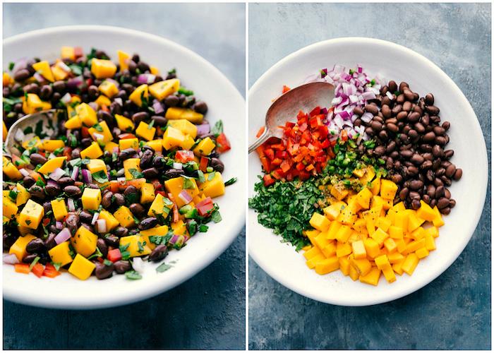recette de farce végétarienne pour tacos mexicains aux haricots noirs, oignon rouge, poivron rouge et persil haché