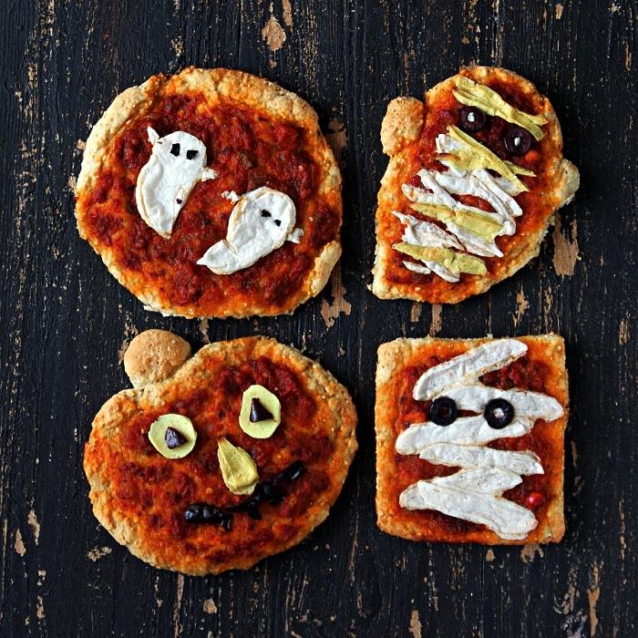 mini pizza halloween en forme de fantômes ou citrouille, recettes apéritives faciles pour le buffet halloween