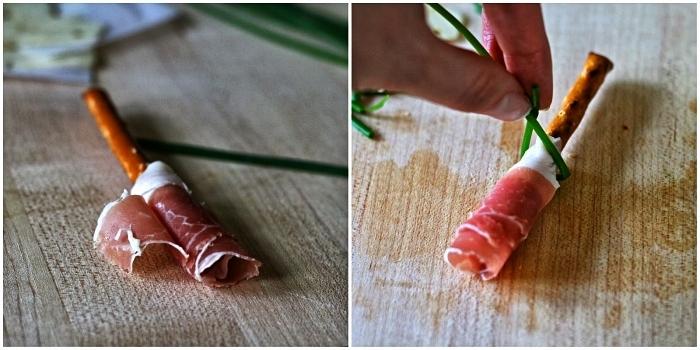 comment faire des balais de sorcière au prosciutto et bretzels, amuse-bouches originaux pour le buffet d'halloween