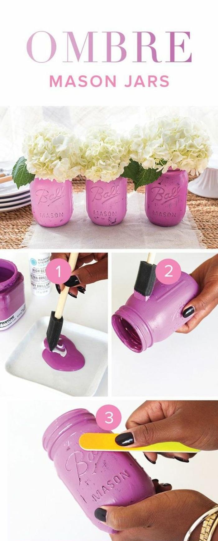 idée comment faire vase originale, exemple recyclage pot verre avec peinture mate, bricolage decoration facile