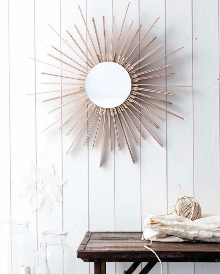 diy déco chambre, design intérieur style rustique dans une pièce aux murs bois blanc avec meubles bois foncé