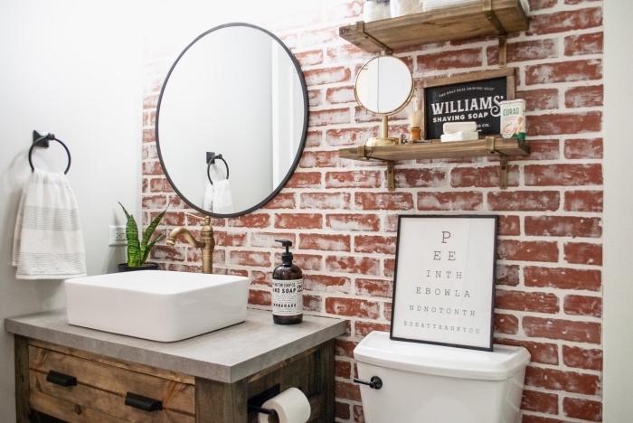 idée déco toilettes de styles rustique et industriel, modèle habillage mural avec papier peint, meuble lavabo toilette en béton et bois brut