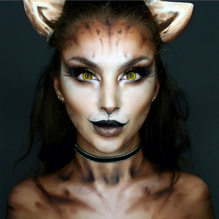 technique contouring visage pour faire un makeup halloween en chat, idée maquillage halloween femme en chat