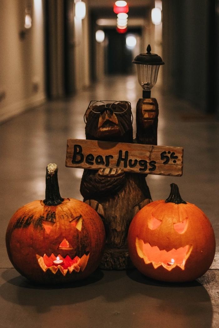 idée décoration à faire soi-même pour la fête de Halloween, diy lanterne Jack'O avec bougies, déco terrifiante Halloween