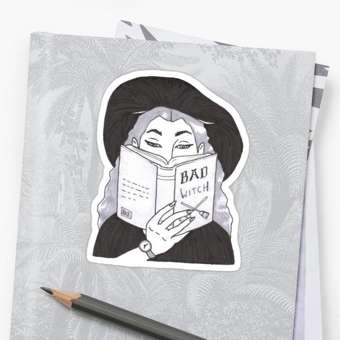 Livre pour les mauvaises sorcières, idée dessin à transformer en tatouage, Halloween dessin original