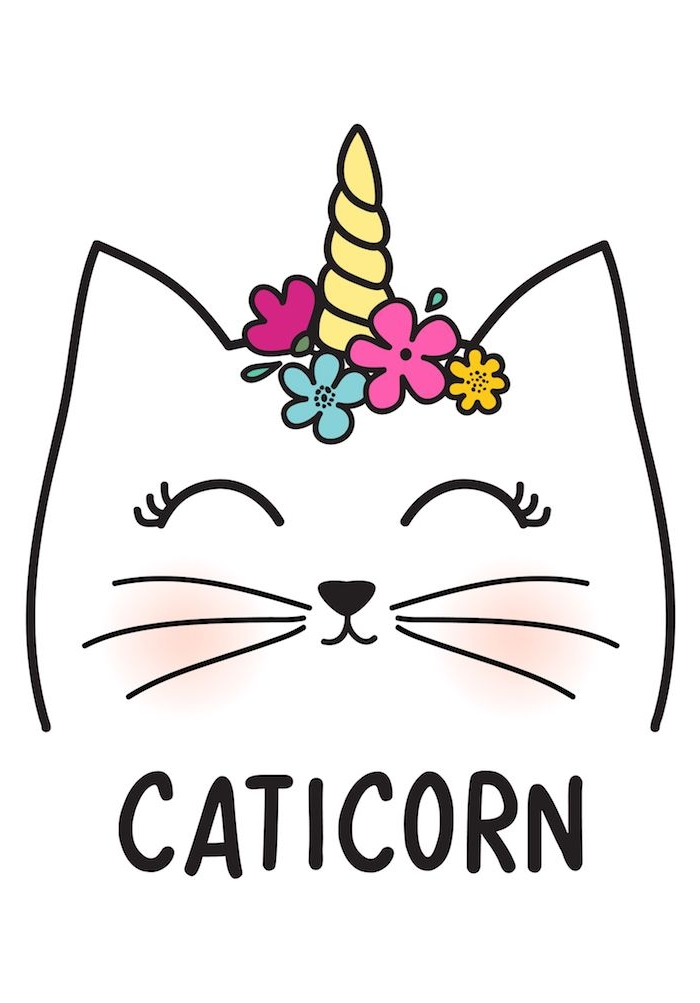 dessin kawaii licorne et chat avec un cornet sur la tete de couleur jaune entourée de fleurs, dessin animal facile