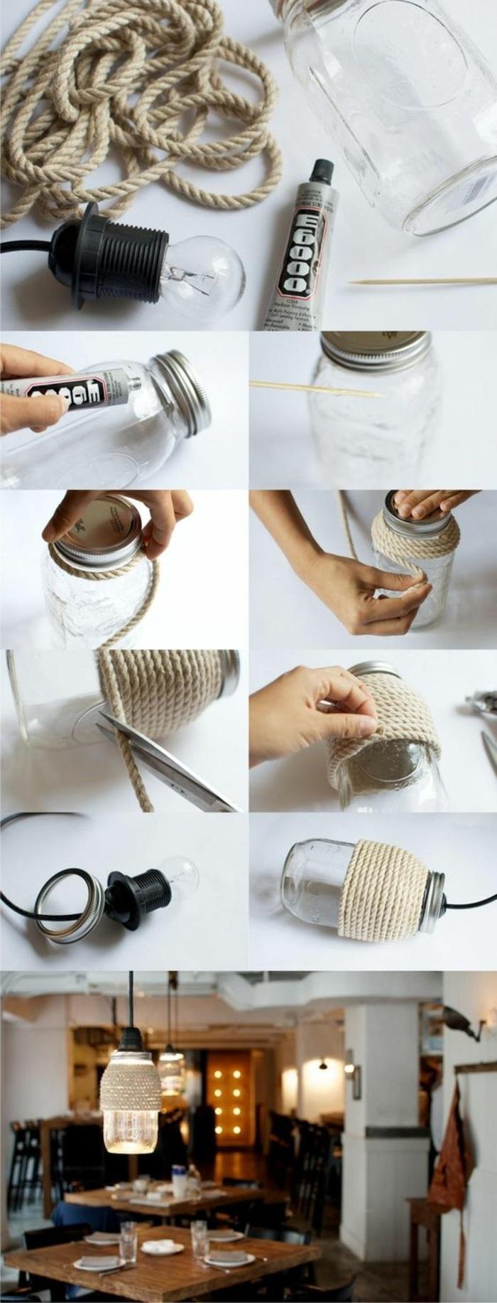 activité manuelle adulte, comment faire une lampe suspendue de style industriel, modèle lampe avec jar en verre et corde