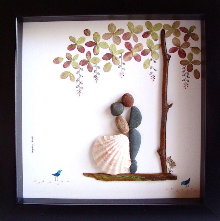 art original avec pierres et moules, idée cadeau mariage original, idée de cadeau pour couple