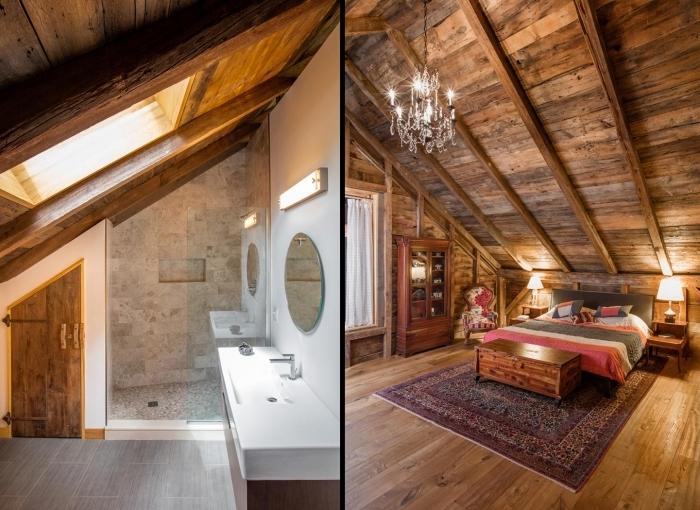 idée aménagement de combles dans une grange rénovée, design chambre à coucher rustique sous pente avec meubles bois et petite salle de bain