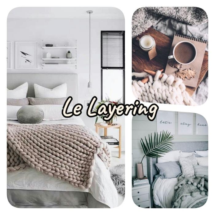 tendance layering dans l'aménagement d une chambre cocooning, entassement de textiles, plaid à grosses mailles, linge de lit gris et blanc, couvertures moelleuses